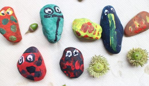 【英語YouTube】公園の石で虫を工作しました!