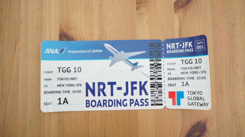 TGG Airlinesでもらった航空券ステッカー