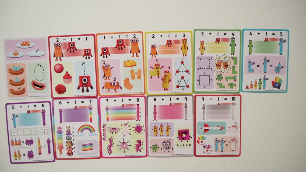 Cards of Numberblocks toy Learning Resorces mathlinkcubes blocks